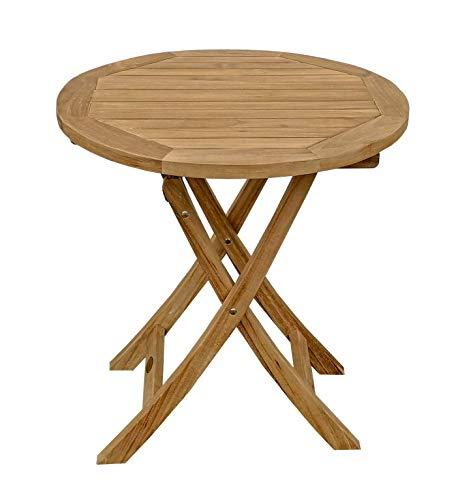 BEHO Natürlich gut in Holz ! Beho Natürlich gut in Holz Rundklapptisch 70x75 cm aus unbehandelten Teakholz, stabil, hochwertig langlebig Beistelltisch Klapptisch