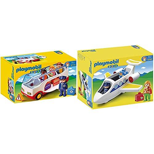 Playmobil 1.2.3 Autobús, A Partir De 1.5 Años (6773) + 1.2.3 Avión (6780)