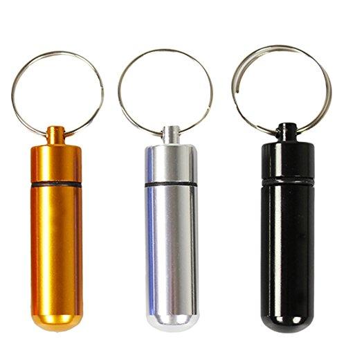 com-four® 3X Pillenbehälter-Anhänger, Adressanhänger für Hund und Katze - Mini Kapsel als Medikamentenbox mit Schlüsselanhänger - wasserdicht - 48 mm x 14 mm (3er Set B:SW/Silberf./Goldf.)