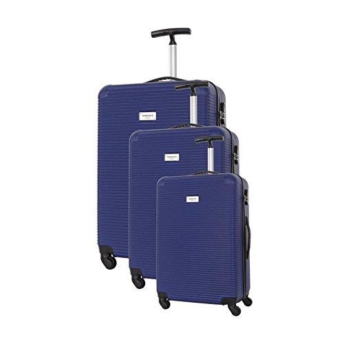 TORRENTE Set de 3 Valises Rigide ABS 4 Roues Monobranche S-M-L AVARO Bleu