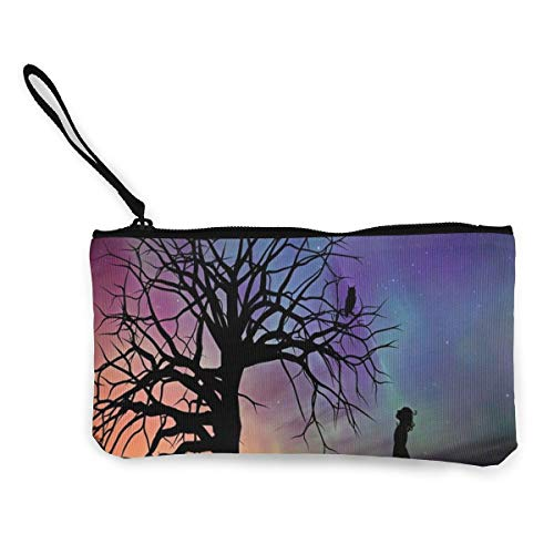 Bearget Girl Starry Sky Evening Fairy Tales Fantasy - Monedero con cremallera para mujer, diseño de cuentos de hadas