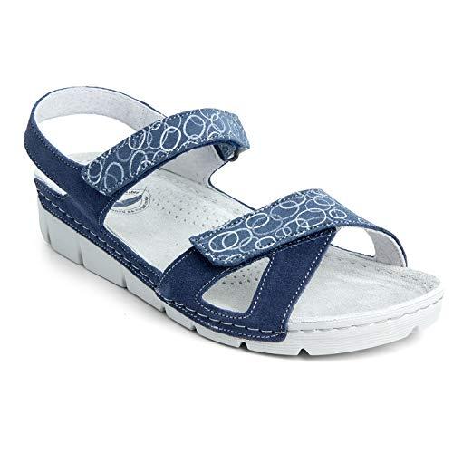 Batz Toledo Ligero y Flexible Sandalias Zuecos Zapatillas Zapatos de Cuero Mujer, Azul, EU 37