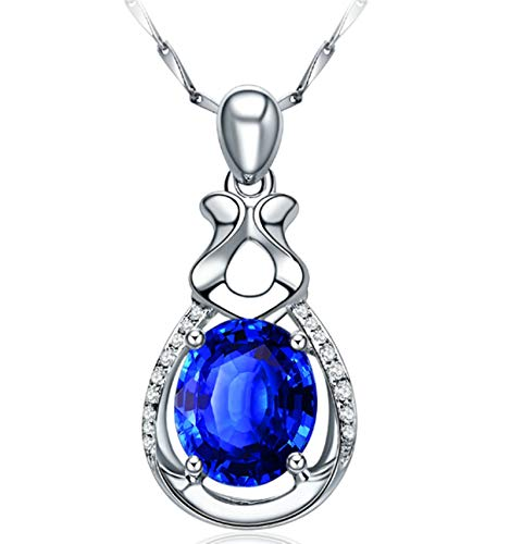 ButiRest Women's Real Gold Necklace Blue Tanzanite Oval Cut with Diamond 18 Carat 750 White Gold Pendant Water Drop Necklace Ladies Wedding Silver 1.30ct