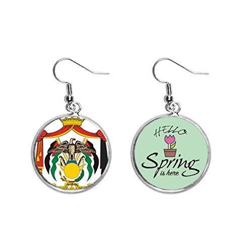 Jordan National Emblema País Decoración Cuelgan Temporada Pendientes Primavera Joyería