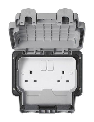 MK Masterseal Plus K56482RY - Presa a 2 vie con interruttori 13 amp, standard inglese