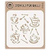 Stencil per caffè n torta, 21,59 x 21,59 cm (L) - Immagini decorative stilizzate Tazza di caffè e cupcake Stencil modello per la pittura