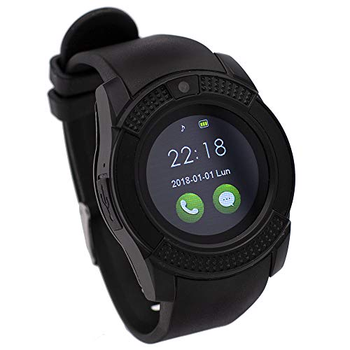 Orologio connesso compatibile con myPhone FUN 8, CEKA TECH® Bluetooth Smart Watch, con fotocamera, touch screen curvo, supporto per scheda SIM/TF, contapassi, sleep