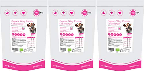 PINK SUN Organic Whey Protein Concentrate Powder Unflavoured 3kg (1kg x 3) Soy Free, Grass Fed, Gluten Free, Hormone Free, No Additives, Vegetarian, Undenatured, Non GM Certified Bio UK