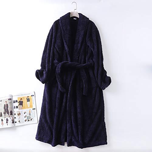 Pareja Albornoz polar de coral pijama y bata de pelo largo engrosamiento Shu algodón de abrigo de los hombres de las mujeres pijamas caliente de la mañana del desgaste desgaste Inicio ( Color : Blue )