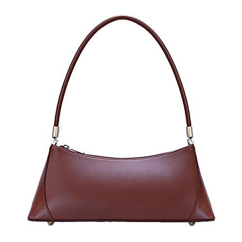 Barabum Retro Classic Hobo Clutch Shoulder Baguette Bag with Zipper Closure for Women (Red Brown)