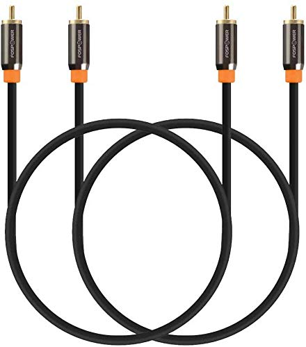 FosPower (10FT - 2 Pack) Digital Audio Coaxial Cable [24K Gold Plated Connectors] Premium S/PDIF RCA Male to RCA Male for Home Theater, HDTV, Subwoofer, Hi-Fi Systems