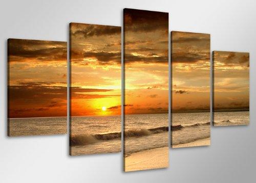 Visario Bild auf Leinwand der Deutschen Marke 100 x 50 cm fünfteilig Strand 6407 Bilder Kunstdrucke Wandbild