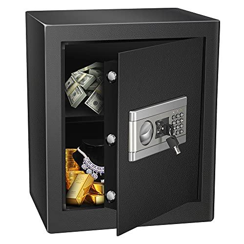 Kacsoo Caja fuerte electrónica de 1,53 Cub con llave, resistente al fuego, resistente al agua, con contraseña electrónica, triple bloqueo, caja fuerte para el hogar o la oficina (46 x 39 x 54)