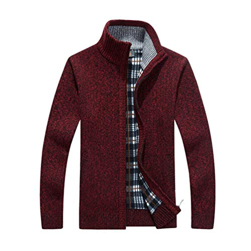 JEELINBORE Cárdigan para Hombre Chaqueta de Punto Jersey de Cuello Alto Suéter Forrado de Fleece con Cremallera