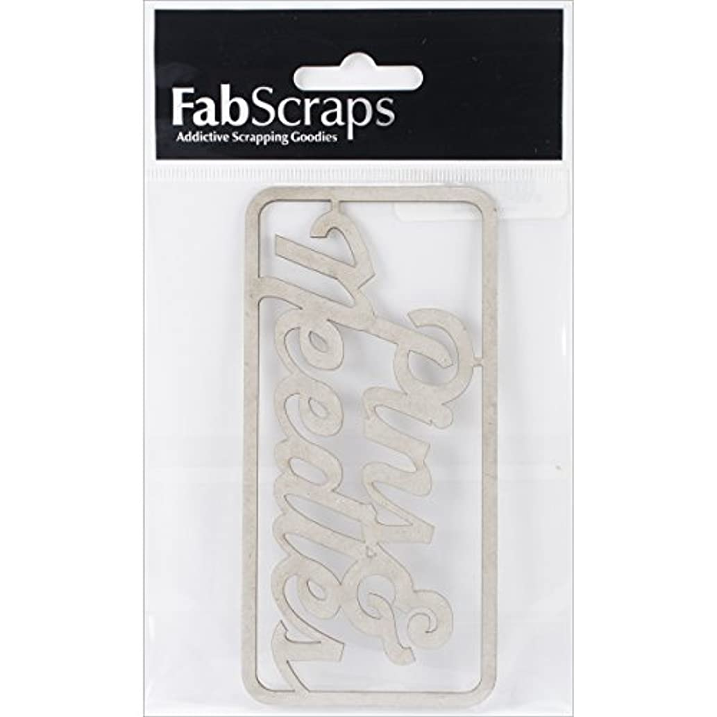 FabScraps Pins and Needles Die-Cut Chipboard Word, 4.75 x 2.25, Gray