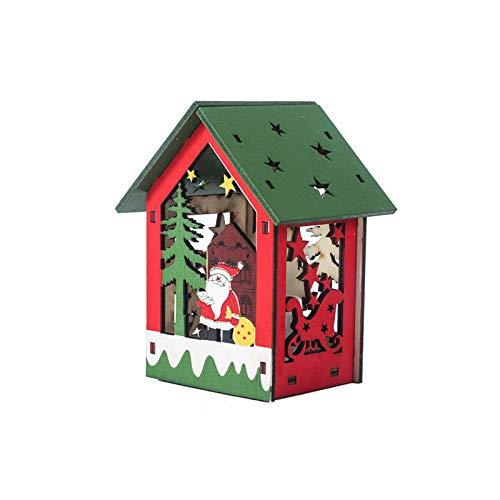 ZXXFR Kerstmis decoratieve hanger, Santa Claus LED lampen houten huis vakantiehuis kerstboom hangers ornament decoratie Xmas party hangende decoratie geschenk