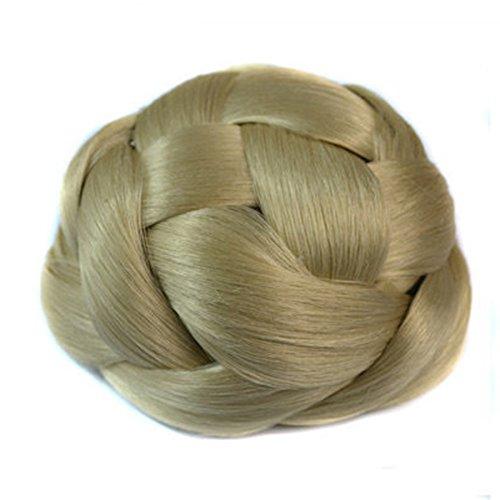 Extensión del cabello Peluca retro de la cabeza de bola Maquillaje nupcial Extensión del cabello Peluca - Extensión del moño del cabello natural Pelucas de pelo humano (Color : Beige)