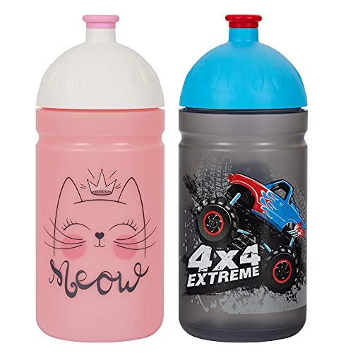 ECO BOTELLA DUO PACK Botella de Agua Ecológica para niños sin BPA sin Ftalatos Irrompible, Duradera y Chula!! Made IN EU (Miaou + Monster Truck)