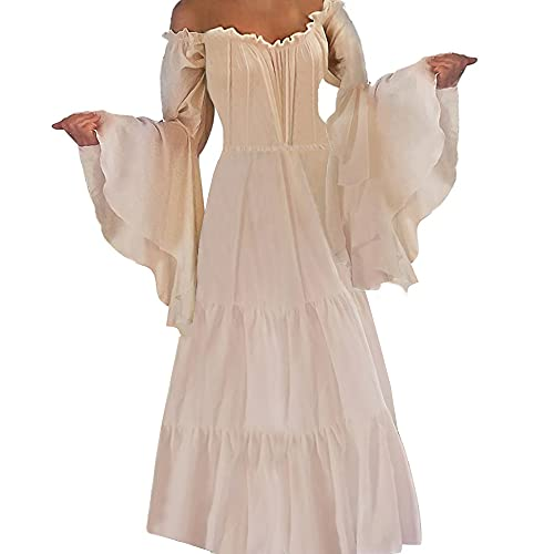 Abaowedding Womens's Medieval Renaissance Costume Cosplay Only Chemise Dress Small/Medium Ivory