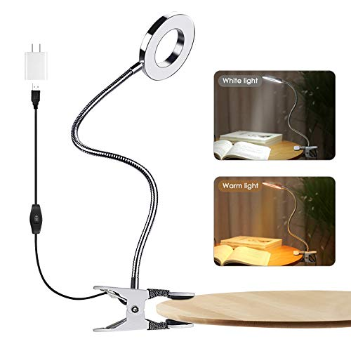 Lamantt Clip on Reading LightLED USB Bed Night Lights with 2 Colors 360° Flexible Gooseneck Bed Night LightEyelash Lamp for Makeup Nail Art  Tattoo Manicure