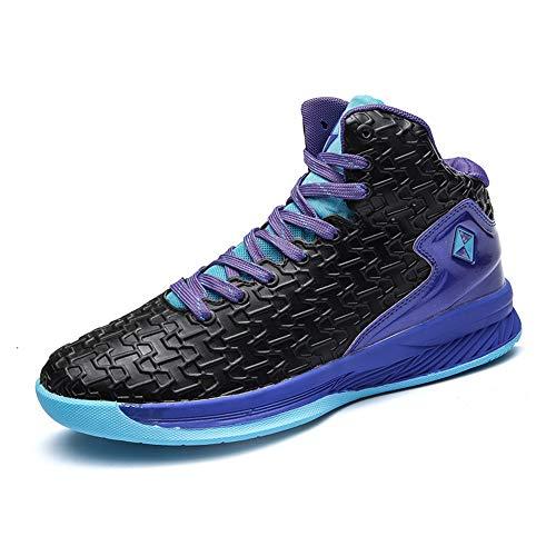 CXQWAN Chaussures de Basket-Ball Hommes, Haut Baskets Basses Sports Marche Chaussures de Course Haute Elasticité Non-Slip Convient pour Venues en Plastique intérieur et extérieur,Noir,39