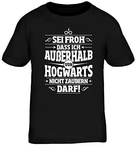 ShirtStreet Fanartikel Fan Kult Film Kinder T-Shirt Rundhals Mädchen Jungen Außerhalb von Hogwarts, Größe: 152/164,schwarz