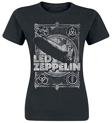 Led Zeppelin Shook Me Mujer Camiseta Negro, [Effekte/Besonderheiten] + Regular