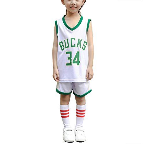LCHENX-Kinder NBA Milwaukee Bucks Nr. 34 Giannis Antetokounmpo Fan Basketball Trikots Gesetzt für Mädchen Junge,Weiß,6 Years