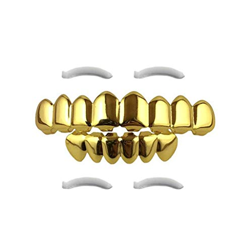 Binory 24K Plated Gold Grillz for Mouth Top Bottom, 8 Gold-Plated Braces Hip Hop Halloween Teeth Grills for Teeth Mouth with 2 Extra Molding Bars,Funny Party Prop Makes Look More Realistic(Gold)