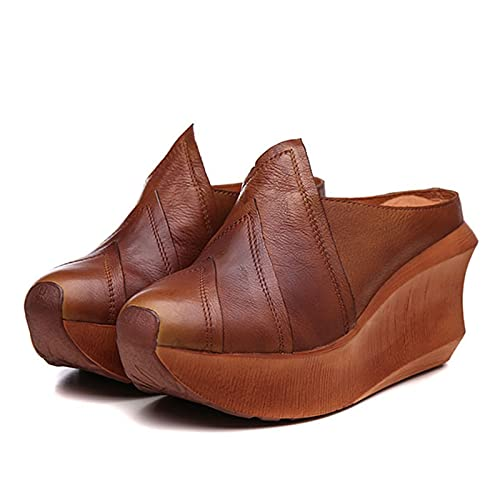 JXILY Sandalias De Mujer, Zapatos De Plataforma De Plataforma De Cuero, Retro Aumento De Zapatillas, Transpirables De Gran Tamaño Antideslizante, Primavera Y Verano,Marrón,38