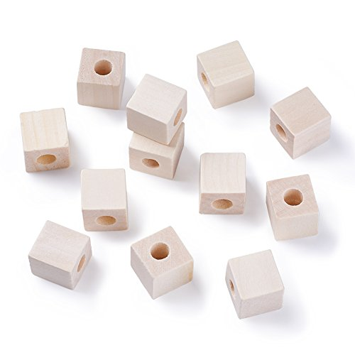Kissitty 50Pcs 19-20mm (3/4) Natural Blank Wooden Cube Beads Unfinished Large Hole Craft Wood Blocks