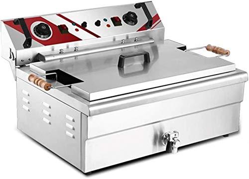 ZBSS Freidora De Aceite De Encimera Comercial, Antideslizante Fácilmente Limpio Y Ajustable Temperatura para Uso Comercial Y De Uso Doméstico Cocina Frisa Frasco De Pollo Camarón 2119