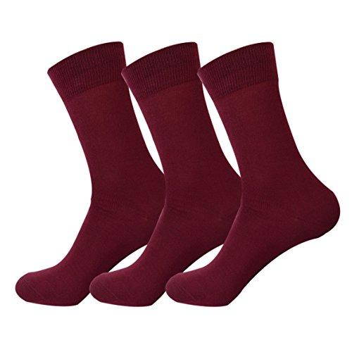 Jasmine Silk 3 pares de calcetines térmicos de bambú para hombre supersuaves 7-11 Rojo granate