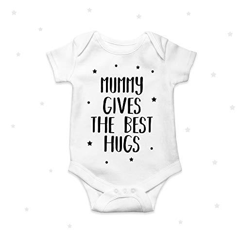 Mamá da el mejor abrazo personalizado lindo bebé crecer bebé ropa mono 12 meses