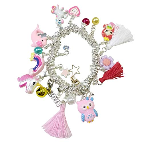 Girls Charm Bracelet,DIY Charm Bracelet with 22 pcs Charms Silver Plated Gift for Girl Teens Birthday Christmas Friendship