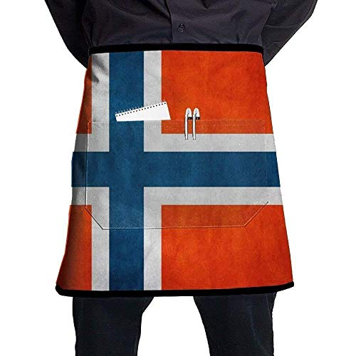 show best Deluxe Cooking Aprons, Norway Retro Flag Bib Aprons Classic Pockets Half-Length Long Waist Kitchen Aprons Half Aprons