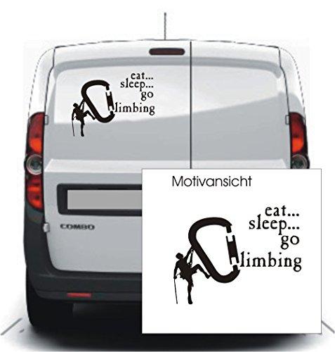 blattwerk-design KFZ Aufkleber - EAT, Sleep, GO Climbing - Karabiner - Klettern - Bouldern - Autoaufkleber // Verschiedene Größen und Farben (200 mm x 150 mm, Silber)