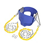 JOYMOR Toddler Swing Extra Long Chain with 2 Carabiners High Back Full Bucket Seat with Coated Swing Chains for Kids Outdoor Fully Assembled (Blue)