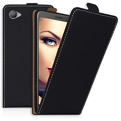 mtb more energy® Flip-Hülle Tasche für HTC Desire 12 (5.5'') - Schwarz - Kunstleder - Schutz-Tasche Cover Hülle