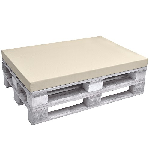Beautissu ECO Pure Coussins Exterieur pour Canape Euro Palette Banquette - Assise - 120x80x8cm - Nature