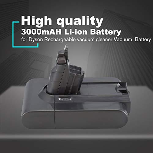 ASFD DC62 V6 21.6V 3000mAH Batería Recargable de Iones de Litio para Dyson V6 DC58 DC59 DC61 DC62 DC74 SV09 SV07 SV03 Batería de aspiradora (Gris)