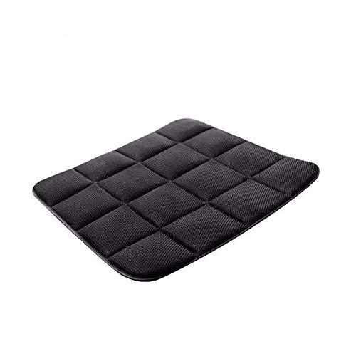 YLCJ Zitkussen, bamboe, geheugenschuim, voor auto, compleet, met geventileerde stoelhoezen, ademend, comfortabele autostoel, universele stoel, zwart-zwart, 45 x 45 cm