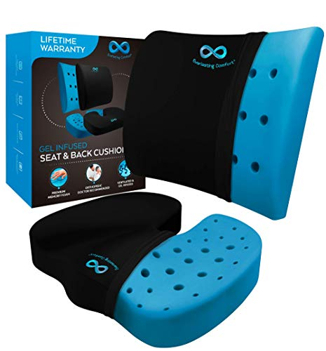 Everlasting Comfort Memory Foam Seat Cushion & Lumbar Back Cushion Combo - Gel Infused & Ventilated - Orthopedic Design for Coccyx & Tailbone Pain - Can Help Sciatica - Perfect for Office Chair