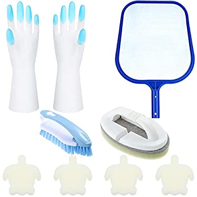 8 Pieces Hot Tub Accessories, Swimming Pool Cleaning Kit Spa Maintenance Supplies Contain Skimmer Net, Scrubbing Brush and Sponge Brush Turtle Oil Absorbing Sponge, with a Pair of Gloves