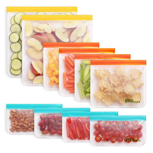 Enivrogen 10 Pack Reusable Storage Bags (2 Reusable Gallon Bags, 4 Reusable Sandwich Bags, 4 Reusable Snack Bags), Extra Thick, Leakproof, Freezer Safe Plastic Free Bags