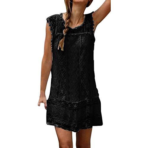 Reooly Vestido Corto de Encaje sin Mangas de Playa Casual con Borla Mini Vestido