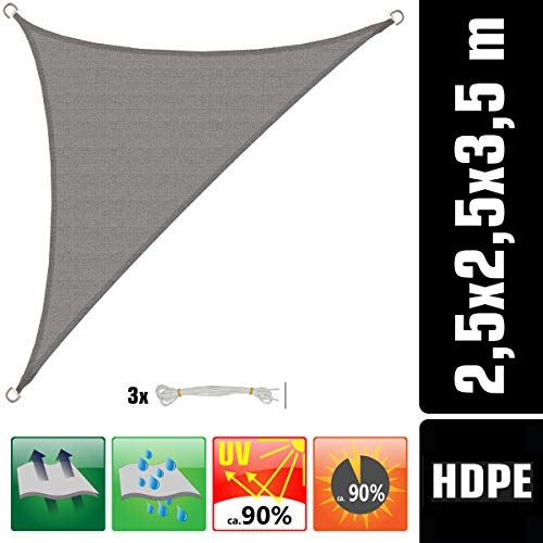 AMANKA UV Sonnensegel - 2,5x2,5x3,5 HDPE Dreieck Rechtwinklig Sonnenschutz Plane Balkon Garten Grau