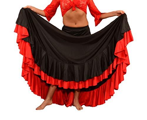 Falda Baile Flamenco Adulto Volante Rojo M