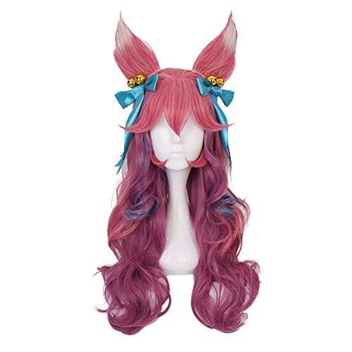 Spirit Blossom Ahri Cosplay WIG LOL LONG PINK Gradient Cosplay Peluca con el tocado de la oreja peluca rizada TSYGHP