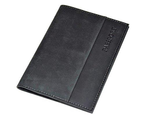 Menzo Reisepasshülle aus echten Leder Reisepassetui Passport Reisepasshülle Reisebrieftasche (schwarz)